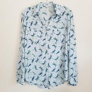 Express Women's Blue Dragonfly Portofino Shirt